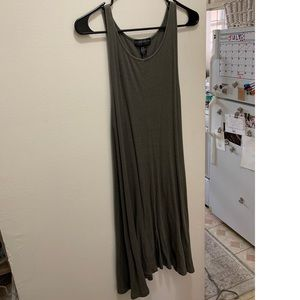 2X olive green comfortable tank top dress